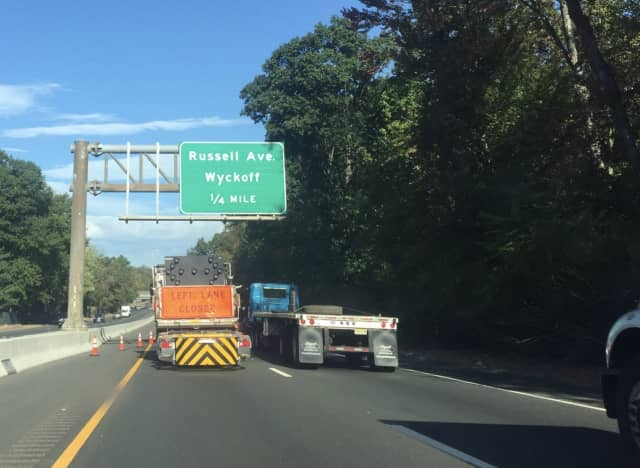 A lane closure on Route 208 North in Wyckoff is causing traffic to back up.