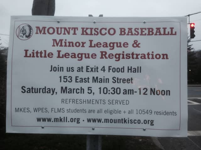 Mount Kisco baseball programs are holding registration drives at Exit 4 Food Hall.