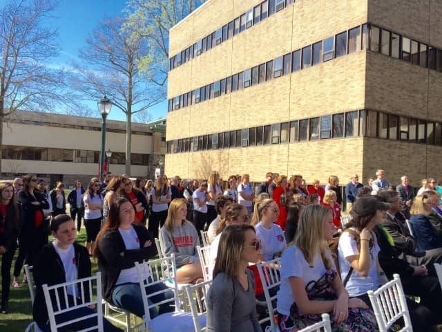 A crowd gathered for the groundbreaking of the new Egan School of Nursing and Health Studies at Fairfield University.