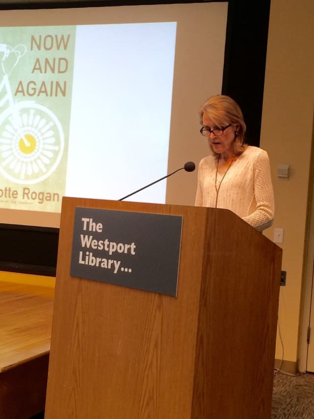 """Westport author Charlotte Rogan reads from her latest novel, """"Now and Again"""" at Westport Library."""
