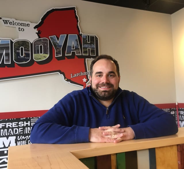 Harrison resident Anthony Grippo at his Larchmont MOOYAH location.