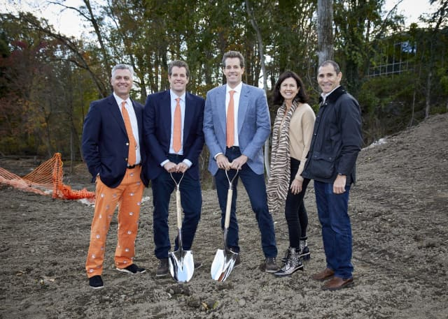 From left: Greenwich Country Day School Headmaster Adam Rohdie, Tyler Winklevoss, Cameron Winklevoss, incoming GCDS Board of Trustees President Vicki Craver and current GCDS Board of Trustees President and Capital Campaign Chair Dan Offit.