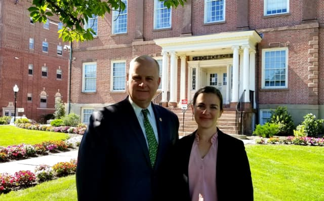 Morris County Sheriff James M. Gannon and Kelley Zienowicz, who will be the only female chief in Morris County when she is sworn in to helm the Sheriff's Department next week.