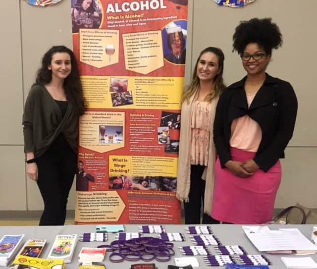 Emilija Gligoroska (prevention specialist/youth coordinator), Katie Lupardi (prevention specialist) and Iman Johnson (GPC coordinator) at a previous function