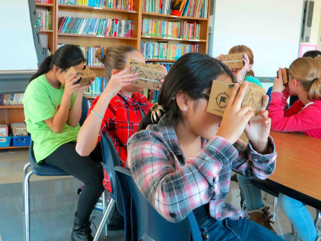 Pierre Van Cortlandt Middle School students use Google's new Expeditions Pioneer Program as a learning tool.