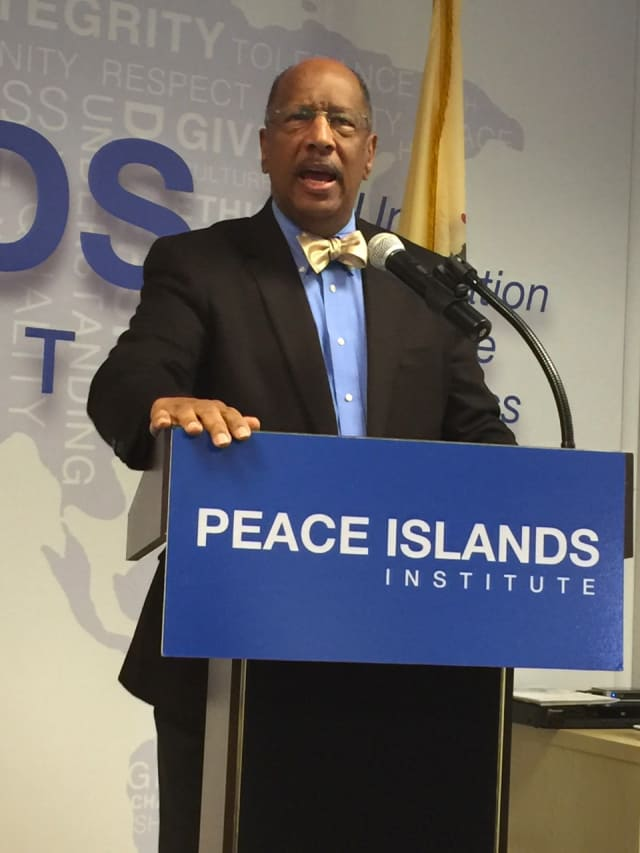 Deputy New Jersey Assembly Speaker Gordon M. Johnson of Englewood was keynote speaker at the Peace Islands Institute, Hasbrouck Heights, Martin Luther King Jr. luncheon.