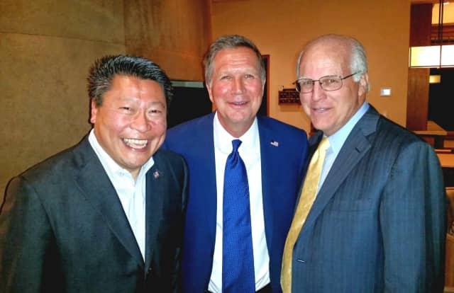 From left: State Sen. Tony Hwang, Ohio Gov. and presidential hopeful John Kasich and former U.S. Congressman Chris Shays