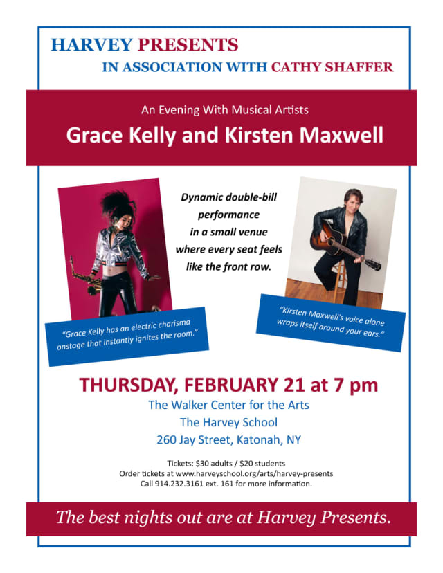 Harvey Presents: Grace Kelly and Kirsten Maxwell (With special appearance by Bedford resident Paul Shaffer)