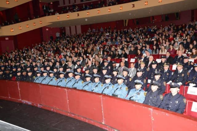 "Sixty graduates of the Westchester County Police Academy during Friday's ceremony at SUNY Purchase. ""The need for training never stops,'' Public Safety Commissioner George N. Longworth told the county's new police welcome ""to the best job on Earth."""