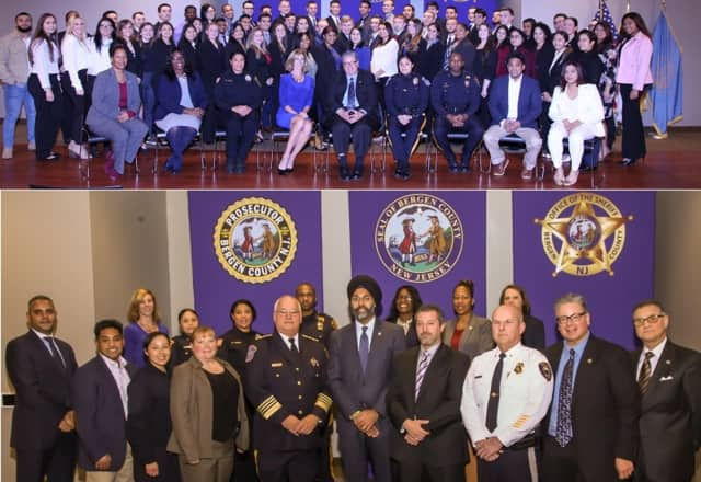 ABOVE: Students and program coordinators, led by William Schiavella (center); BELOW: Sheriff Michael Saudino, Prosecutor Gurbir S. Grewal, BCPO Chief Robert Anzilotti, Oakland's Edward Kasper (Bergen County Chiefs Association president), others.