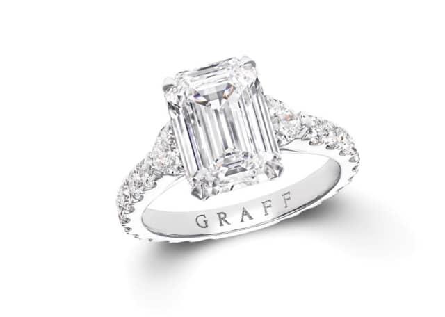 13.57 Carat D Flawless Emerald Shaped Diamond Ring cut from the Lesedi La Rona Diamond. Photographs courtesy Graff.