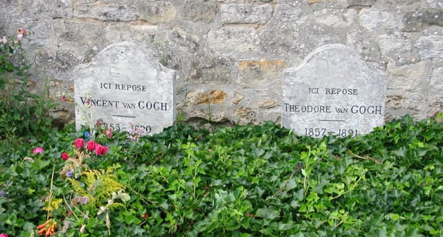 The graves of Vincent van Gogh and his brother, Theodore (known as Theo), in Auvers-sur-Oise, France.