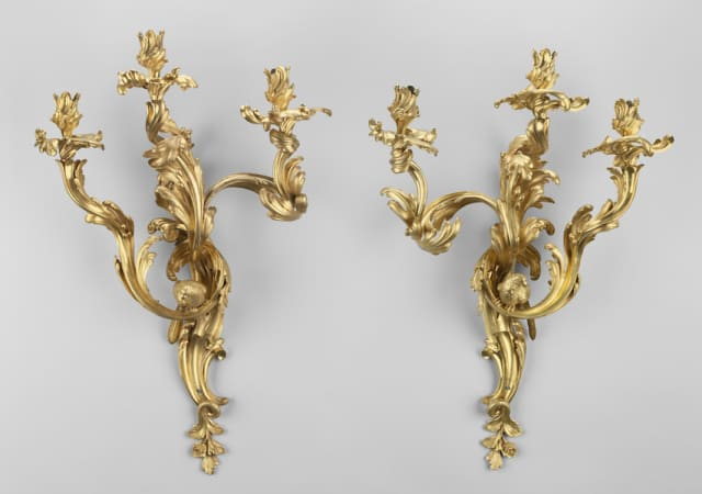 Wall Light. French (Paris), Louis XV, 1750-1760, Possibly by François-Thomas Germain (French, 1726-1791), Possibly by Jean-Claude Duplessis (French, 1699-1774). Gilt bronze, iron. Museum purchase. Museum of Fine Arts, Boston. Courtesy Greenwich Decorative Arts Society.