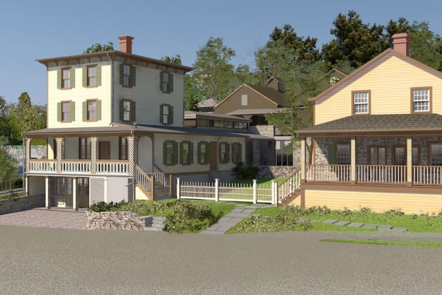 A view of the newly reimagined Toby's Tavern, left, and Storehouse, right, on the grounds of the Greenwich Historical Society campus in Cos Cob. Rendering by David Scott Parker Architects. Courtesy Greenwich Historical Society.