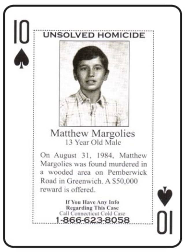 The unsolved murder of 13-year-old Matthew Margolies of Greenwich is one of several included in a new deck of cold case cards distributed to Connecticut inmates.