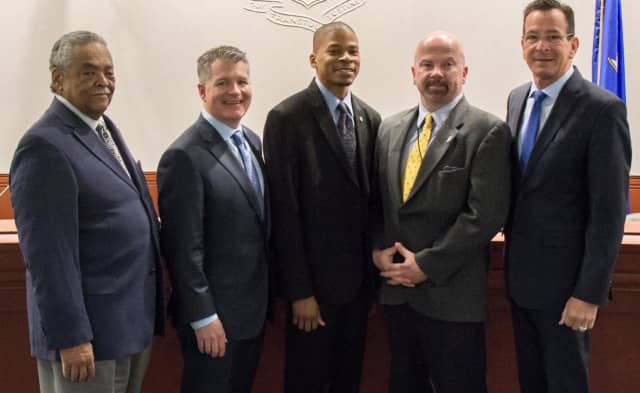 State Sen. Ed Gomes, Hubbell Electric Heater CEO William Newbauer III, Stratford Councilman David Hardin, State Rep. Joe Gresko and Gov. Dannel Malloy after approval of Hubbell's $2 million funding package.