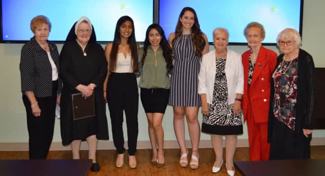 From left, Patricia Fraleigh. Sister Mary McCaffrey; Jhoely Duque, a graduate of Lakeland High School; Jessie Zhanay of Peekskill High School; Danielle Merante, a graduate of Walter Panas High School; Marie Turner, Virginia Rederer and Donna Edwards.