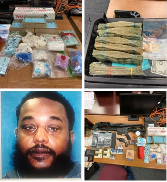 Joseph Gumbs and some of the items seized.