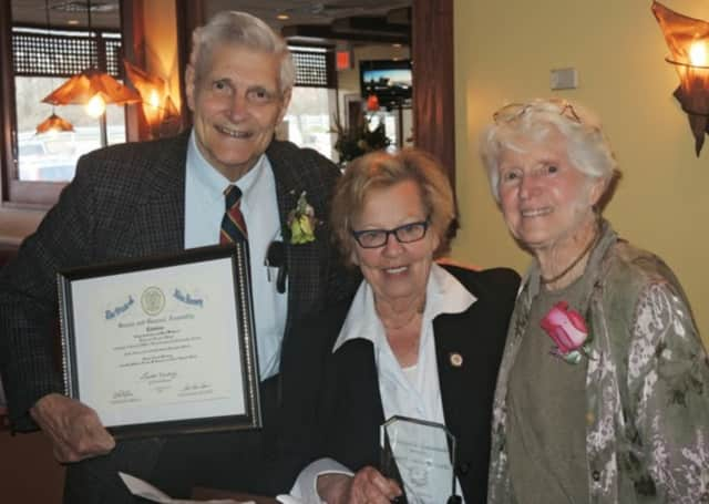 Hans and Ellie Spiegel, shown here receiving an award from Senator Loretta Weinberg of Teaneck, are founders and long-time members of the Leonia Peace Project, celebrating Sunday Feb. 7 in the library.