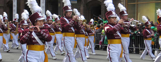 """Harrison High School's Marching Band is performing once again in Thursday's annual St. Patrick's Day Parade in New York City. National televised coverage of the parade begins at 11 a.m. The Huskies' band """"steps off"""" at 12:30 p.m. in Manhattan."""