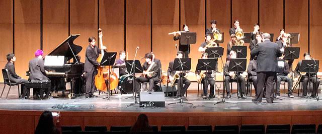 The Harrison High School Jazz Ensemble performed at the regional Essentially Ellington Festival at Greenwich High School.