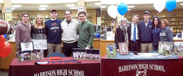 Zach Evans and Andrew Carton, students at Harrison High School, have signed letters of intent to play Division I college sports.