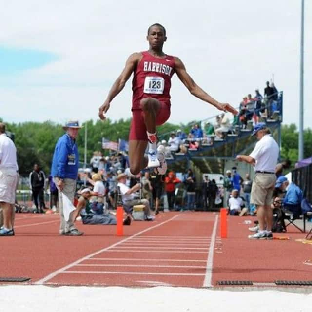 Robert Blue is flying high, literally, as one of the nation's top triple jumpers. The Harrison High School track and field star is currently the top-ranked junior in the triple jump nationwide.