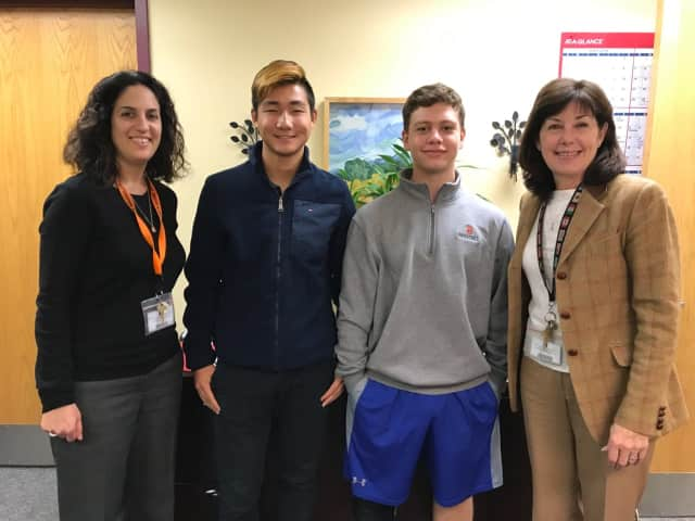 Briarcliff High School Counseling Coordinator Meredith Safer, HOBY 2017 Runner-Up Christopher Li, HOBY 2017 Winner Jackson Heitzler, and Briarcliff High School Principal Debra French