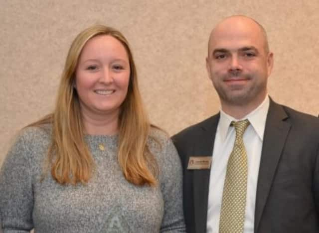 Colleen Spafford and Joseph Niclas stand together at the annual College Counselor Luncheon at Ramapo College of New Jersey.