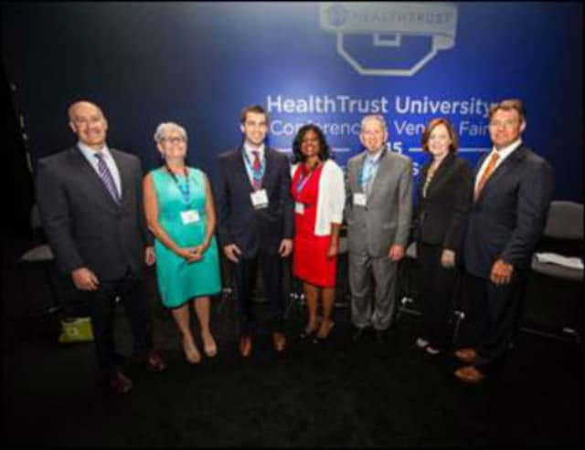 Hackensack University Medical Center officials joined with those at HealthTrust in accepting the stewardship award from HealthTrust.