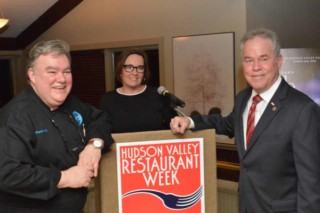 Chef Peter X. Kelly, Janet Crawshaw, publisher of The Valley Table, and Rockland County Executive Ed Day at the kickoff event at Kelly's Restaurant X & Bully Boy Bar in Congers. Photograph by Bob Rozycki.