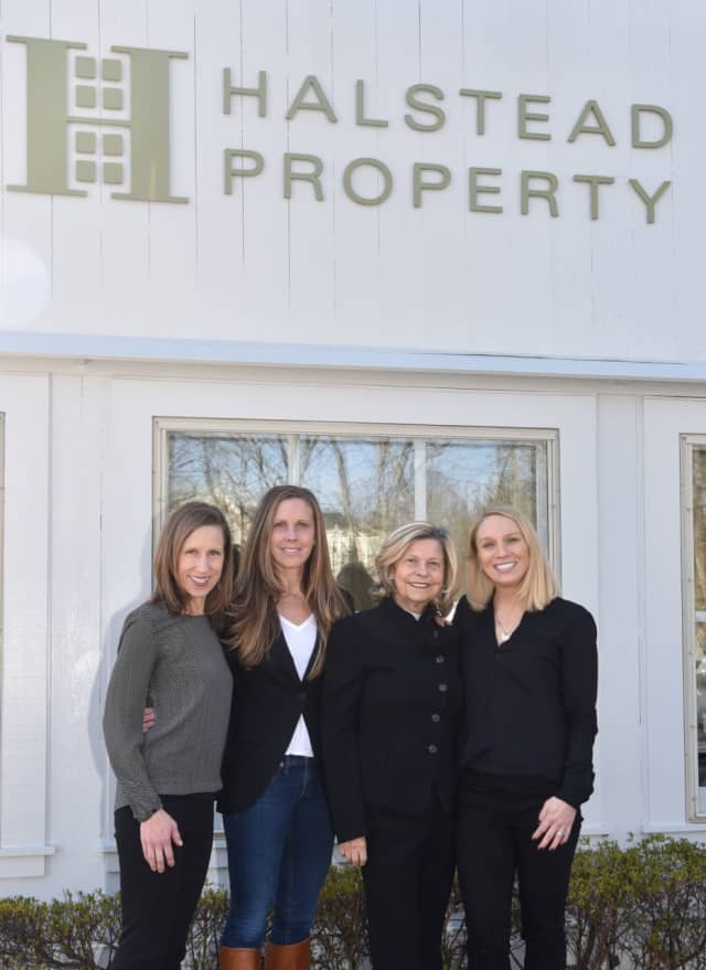 Shown from left are Rebecca Morrison, Opus alumni initiatives coordinator, Tami Hughes and Eileen Hanford of Halstead Property, and Anika Charron, Co-President of Opus. A March 1 luncheon will raise  money to send Stamford kids to camp.