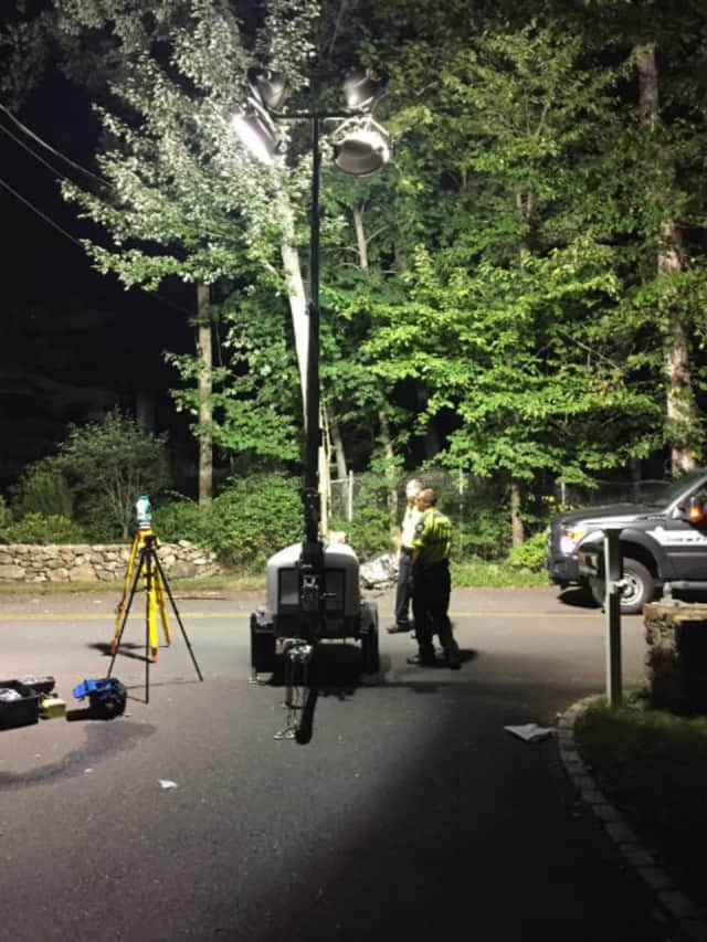 The Darien Police Accident Investigation Team responds to a serious accident Saturday night on Hanson Road.