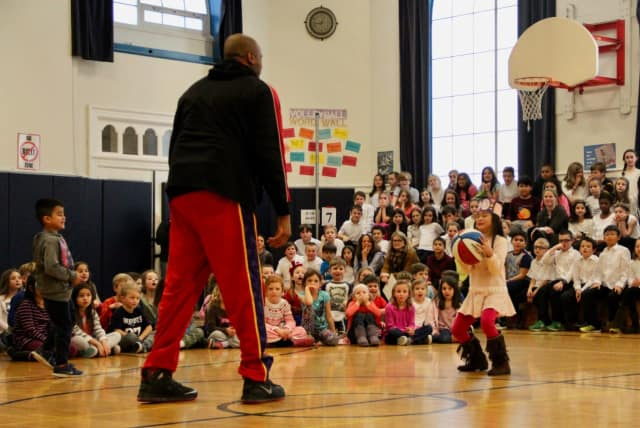 """Big Mike"" of the Harlem Wizards, pictured during a visit to the Hudson Valley last year."