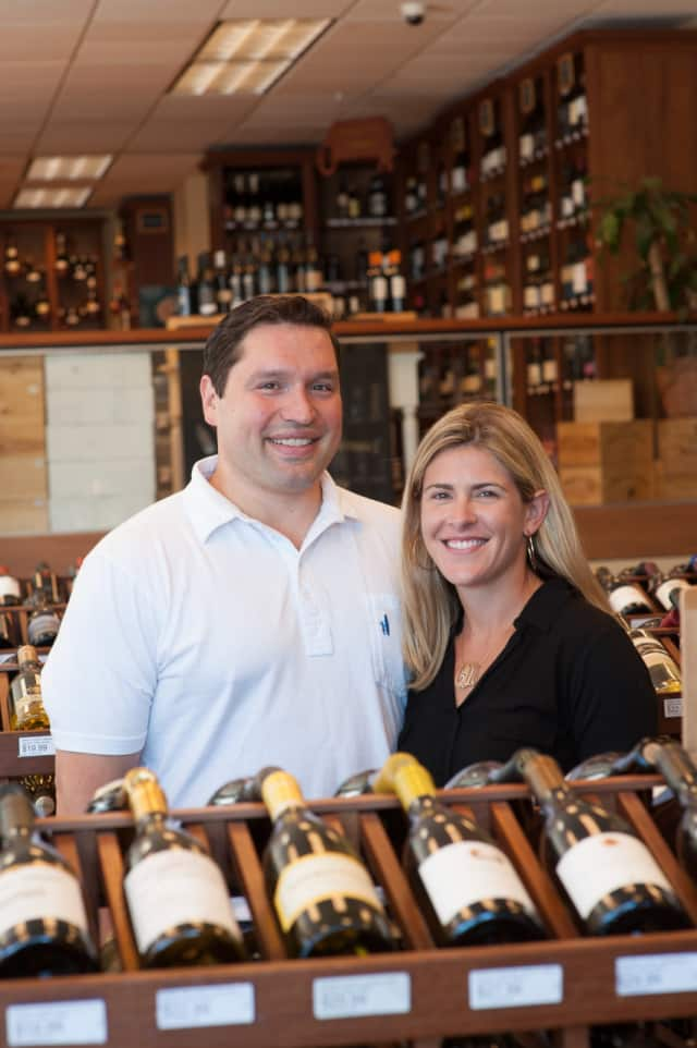 Owners Anthony and Carly D'Arpino at the Harrison Wine Vault.