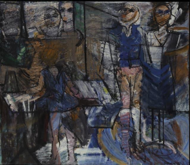 "Grace Hartigan (1922-2008). ""Showcase,"" 1955. Oil on canvas, 69 3/16 x 80 ¼ in. (175.7 x 203.8 cm). Metropolitan Museum of Art. Purchase, Roy R. and Marie S. Neuberger Foundation Inc. Gift, 1956 © Estate of Grace Hartigan."