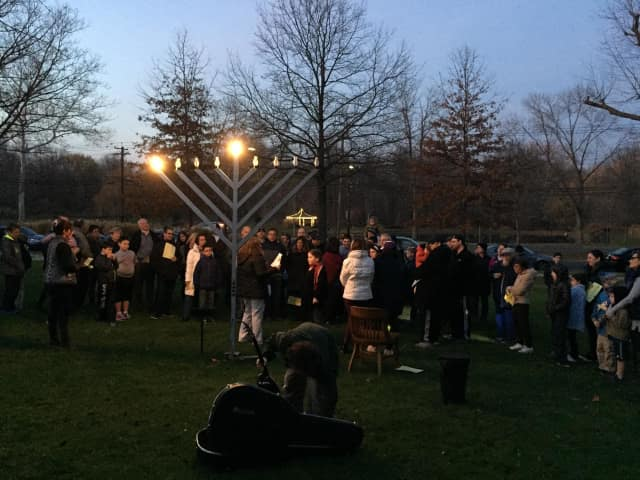 Haworth lit a community Menorah Sunday night, Dec. 6, to mark the first day of Hanukkah.