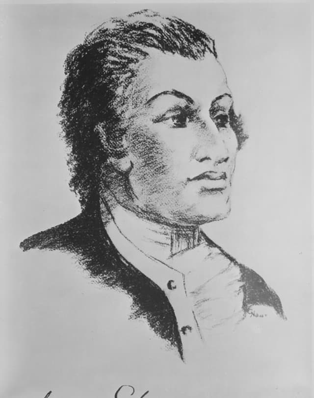 Sketch of Haym Salomon that was used in the Heald Square Monument. Courtesy U.S. National Archives and Records Administration.