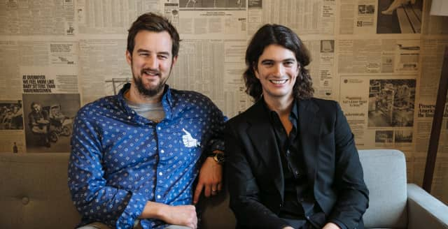 Miguel McKelvey and Adam Neumann, founders of WeWork, along with Neumann's wife Rebekah.