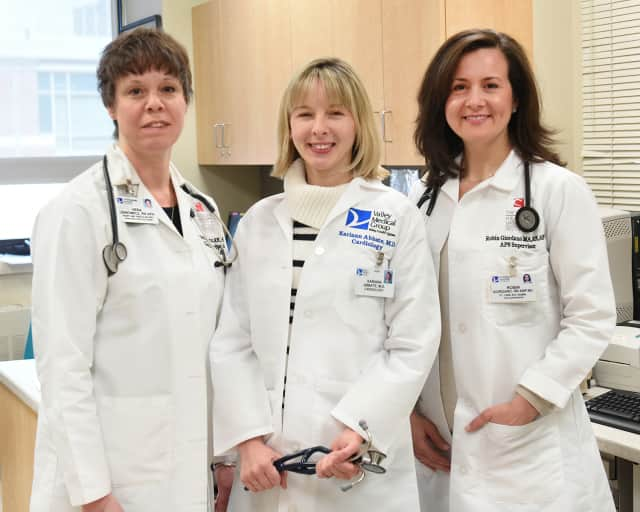 Advanced practice nurse, Vera Usinowicz; heart failure specialist Dr. Mariann Abbate, and Robin Giordano, supervisor of the Outpatient Transitional Care Program.