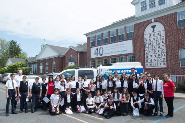 Recently, members of the Heart & Vascular Hospital team at Hackensack University Medical Center visited the Hovnanian School in New Milford. Students in grades 5 to 8 are shown.