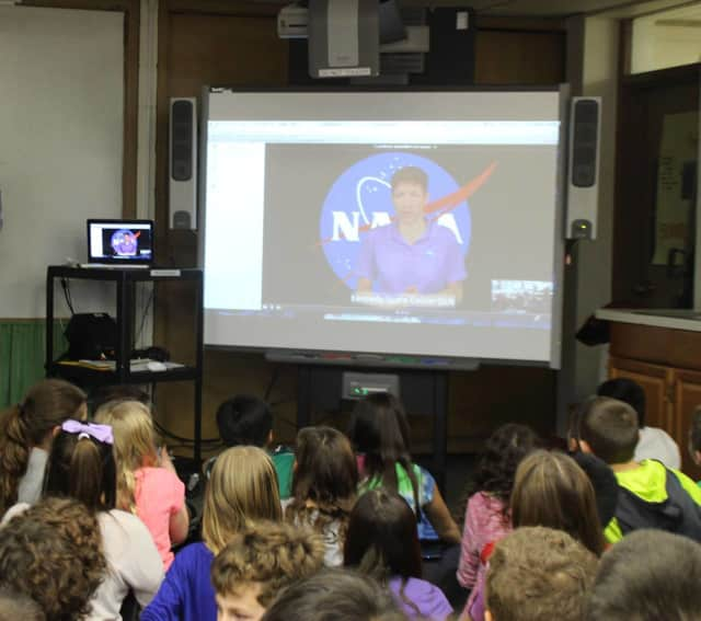 Heathcote School fifth-graders get a live video lesson from a NASA educator at the Kennedy Space Center.