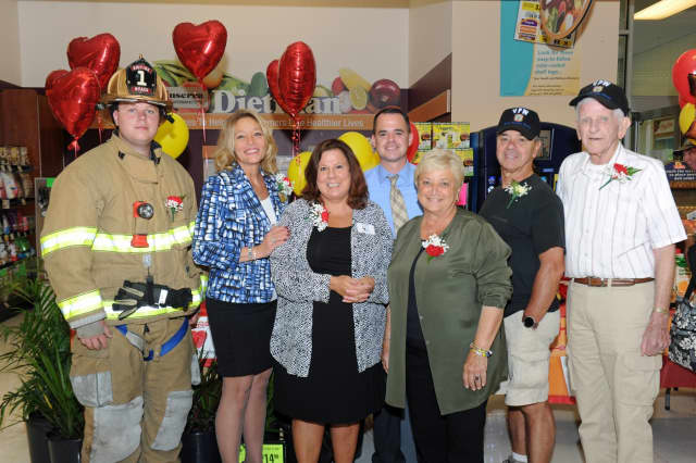 From left: James Weck Jr, Fireman; Rea Noyes, Store Manager; Diane Serratore, Executive Director People to People; State Sen. David Carlucci; Marie Lorenzini, Deputy Mayor, Nyack; Guy Gebbia, Commander VFW Post 9215; Vince Knight, VFW Post 9215.