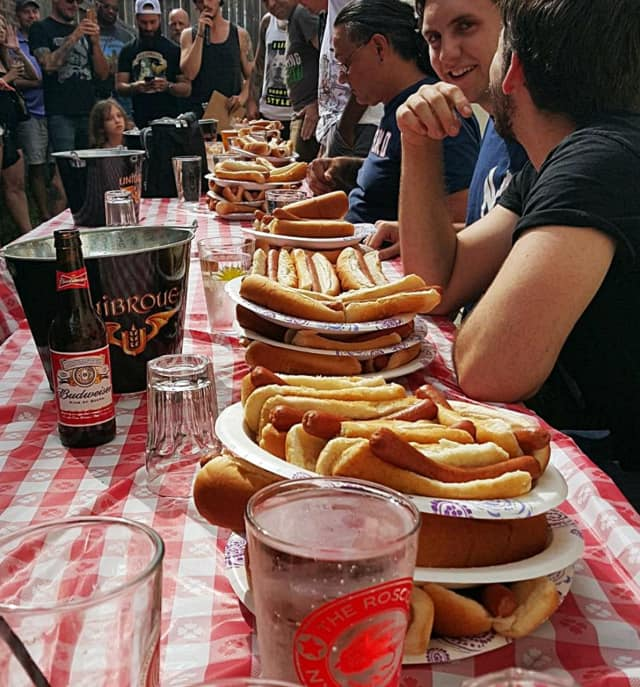 Some of the competitors at last year's hot dog eating contest.