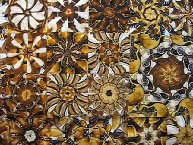 Here is one example of a kaleidoscope quilt.