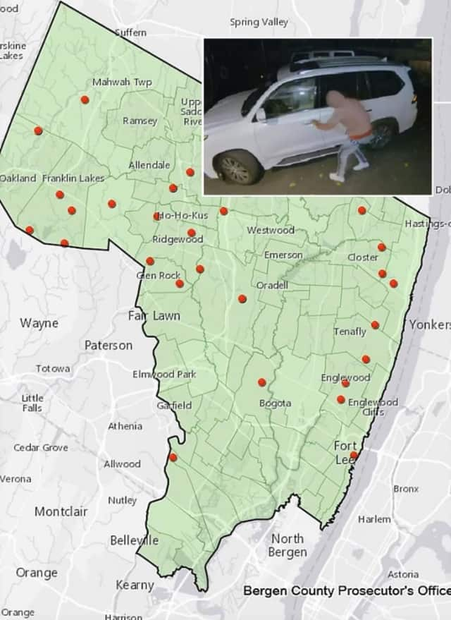 with the number of thefts escalating rapidly, county Prosecutor Gurbir S. Grewal issued a map this week showing towns with recent thefts.