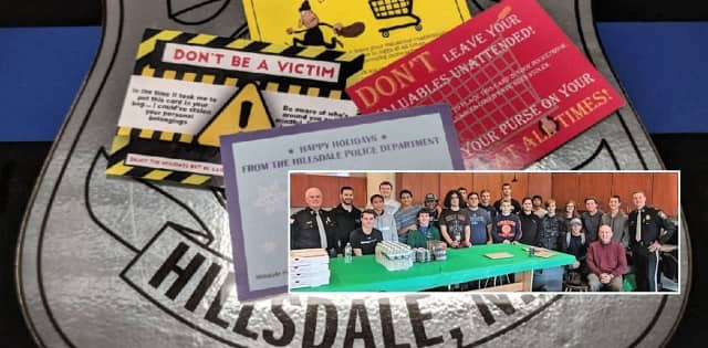 The postcards were designed, created and delivered by students in a design class at Pascack Valley High School led by teacher Jim Kennedy.