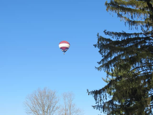 This hot air balloon crossed over the Amawalk Reservoir in Somers Sunday.