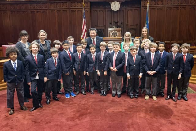 State Sen. Tony Hwang led students from Fairfield Country Day School on a tour of the State Capitol complex Thursday.
