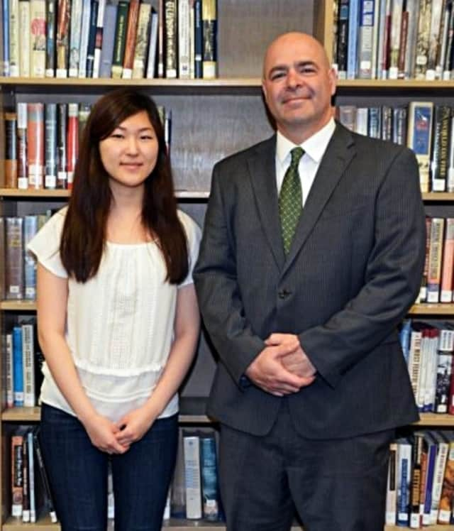 "Hyun Joo ""Haley"" Yang with NV Demarest Principal James Santana"